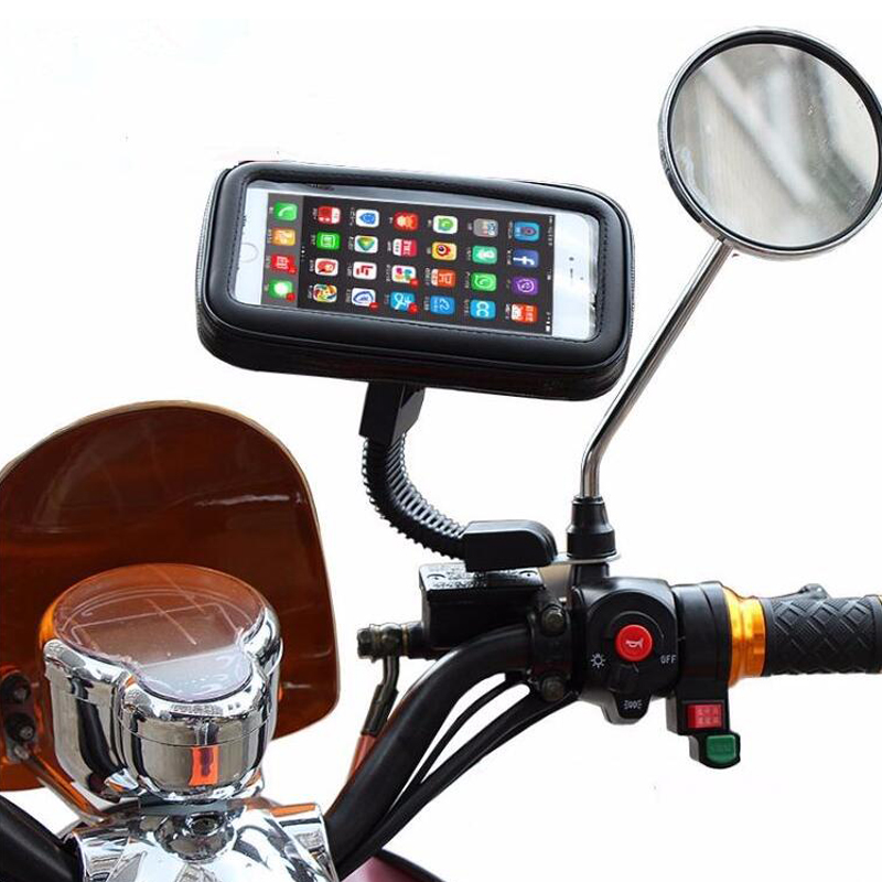 Motorcycle Phone Holder Stand 360 Rotating For Moto Mobile Support for iphone X 7 8 Plus S9 S8 S7 Cover Universal Waterproof Bag