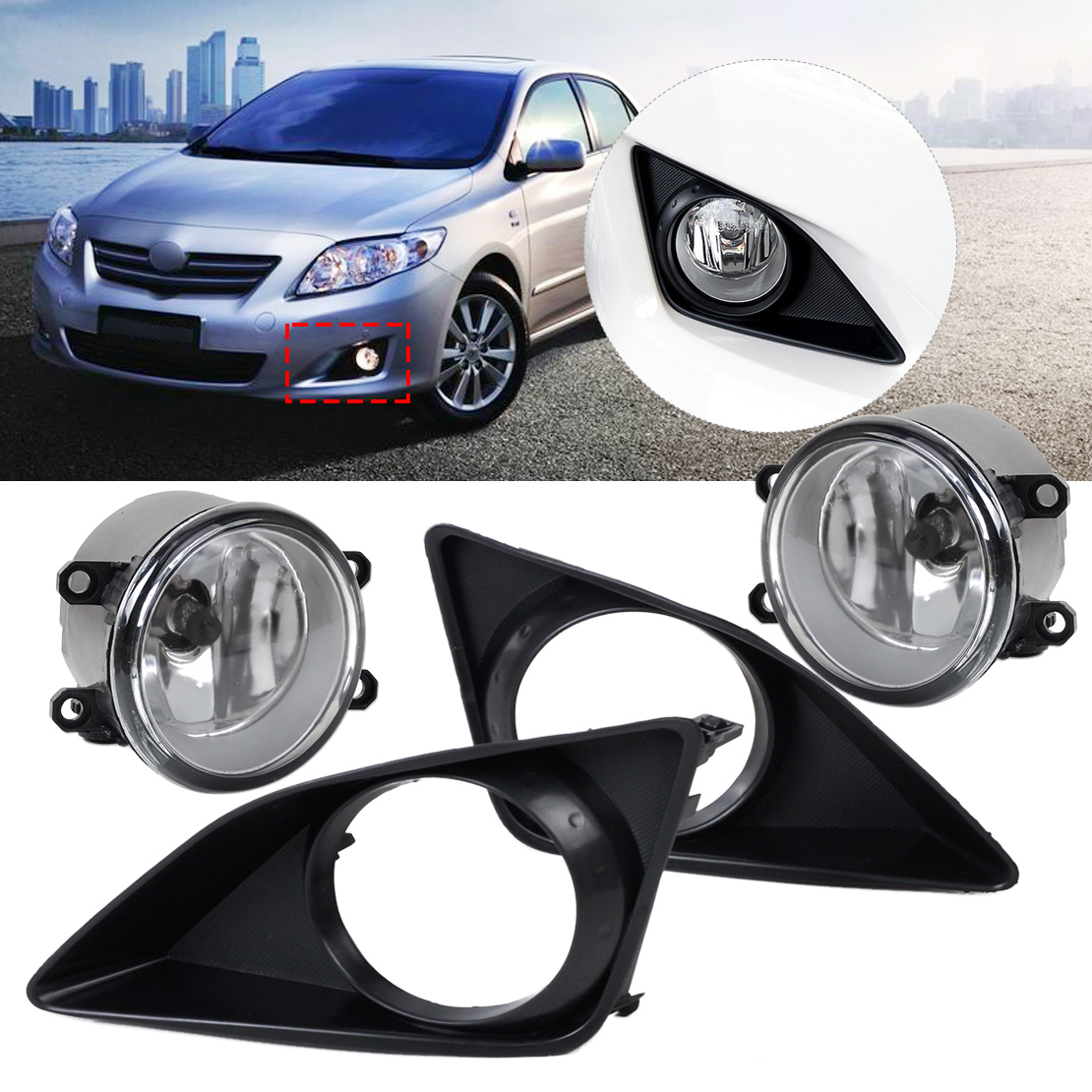 DWCX 81210-06050 / 81210-0D040 2pcs Front Fog Light Lamp + 2pcs Grille Cover Bezel For Toyota Corolla 2007 2008 2009 2010 dwcx 81210 06050 81210 0d040 2pcs front fog light lamp 2pcs grille cover bezel for toyota corolla 2007 2008 2009 2010