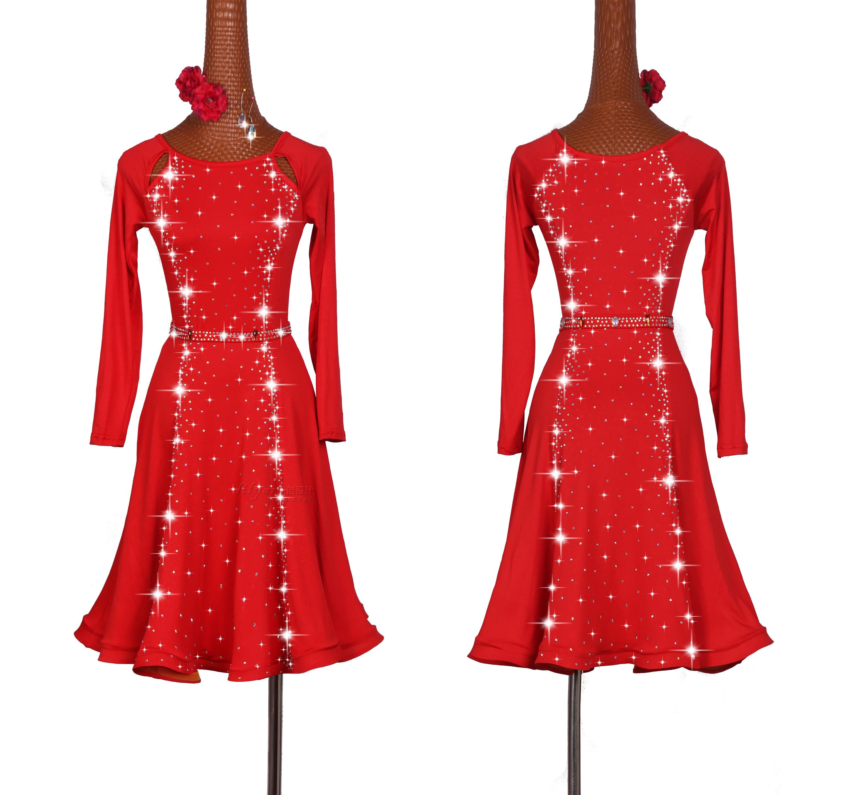Robe de danse latine femme manches longues Design robe de danse salle de bal robes de concours de danse strass Latin jupe rouge femmes