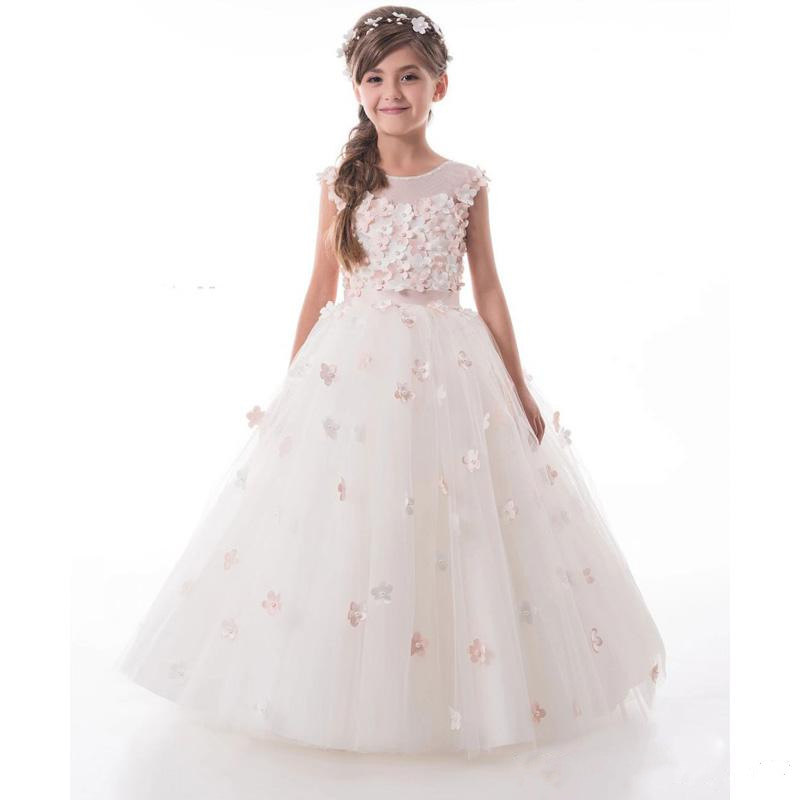 Luxury 3D Flowers Girls Pageant Gown O Neck Applique Pearls Birthday Gown Kids Flower Girl Dresses For Weddings Custom Made luxury fluffy flower girl dresses for weddings 3d floral appliques long sleeve girl s birthday dress gorgeous pageant gown