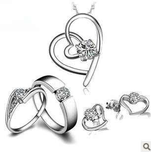 2016 hot sell 925 sterling silver jewelry sets lovers`couple rings stud earrings pendant necklaces wholesale