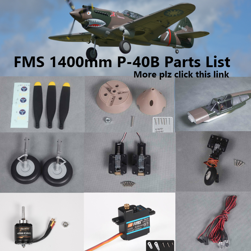 FMS 1400mm 1.4m P40 P-40B Parts Propeller Spinner Motor Shaft Board Mount Landing Gear Retract etc RC Airplane Plane Aircraft image