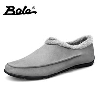 BOLE Winter New Cow Suede Men Causal Shoes Design Slip On Comfort Men Loafers Driving Shoes