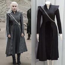 Hot Game of Thrones Season 7 Daenerys Targaryen Cosplay Costume Halloween Party Fancy Dresses with Brooch(as gift) Custom Made