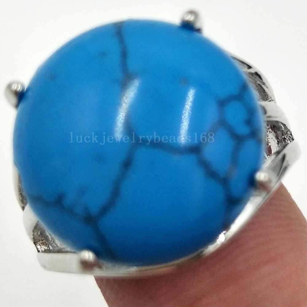 "Howlite Malachite Tiger's Eye Lapis Lazuli Aventurine Jaspe คริสตัลโอปอลรอบผู้หญิงผู้ชายแหวนลูกปัด 6.5 ~ 12"" US ปรับ WFH429"