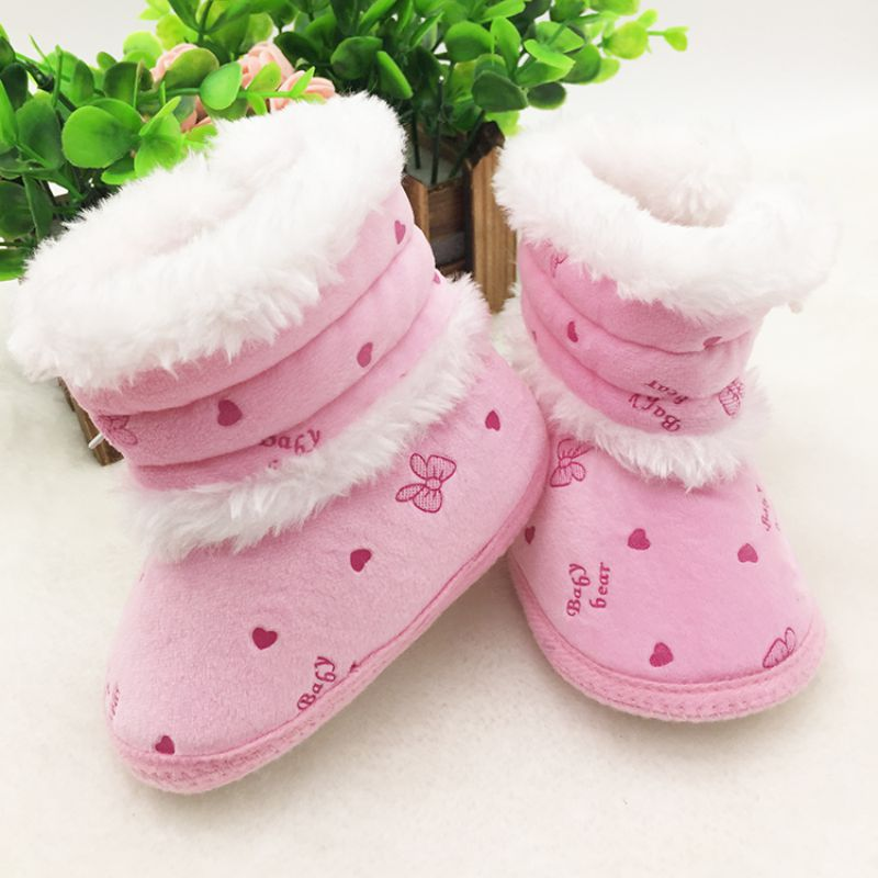 0-18M Infant Kids Baby Warm Boots Non Slip Casual Soft Sole Fleece Warm Snow Boots Shoes