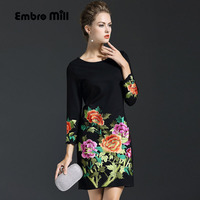High quality casual dress for women autumn & winter Chinese style vintage embroidery plus size elegant slim lady dresses M 5XL