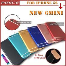 Nuevo para el iphone 6 mini cubierta trasera tapa de la batería carcasa de metal para iphone 5s como 6/6 s rojo negro oro rosa tpu envío