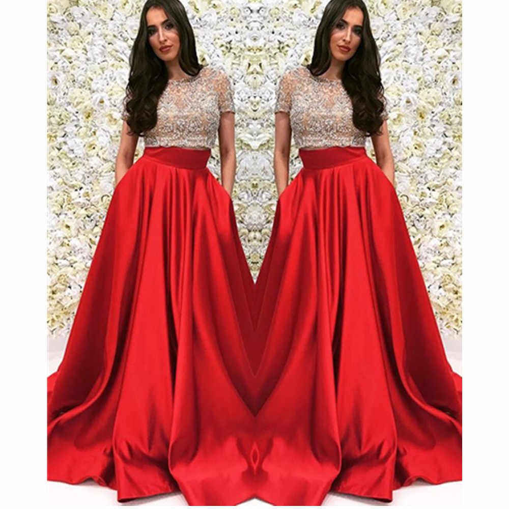 d355b8f5bc8d2 Baijinbai Beaded Two Piece Ball Gown Prom Dresses Illusion Top Short  Sleeves Pageant Evening Gowns Party Dress with Pockets