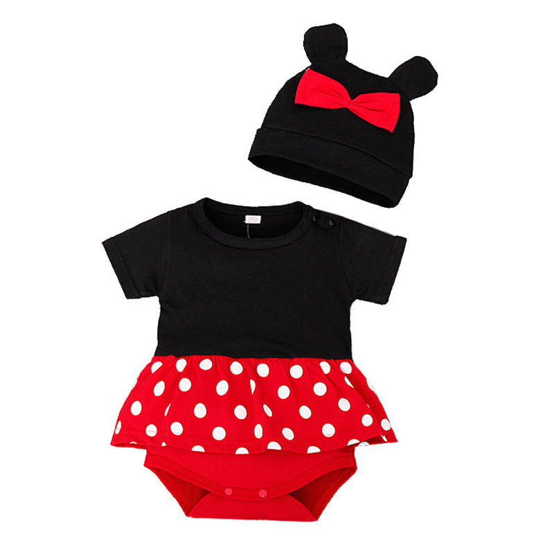Baby Girl Boy   Rompers   + Hat Clothes Cartoon Mickey Minnie Mouse Jumpsuit Infant Costumes Newborn Dresses Overall Bebe Sets 2pcs