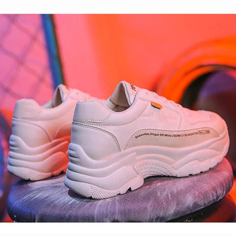 Heißer Mode Plattform Sneaker Frauen Vulkanisierte Schuhe 2019 Casual Chunky Turnschuhe Spitze Up Dad Schuh Plattform Frauen Schuhe Weiß