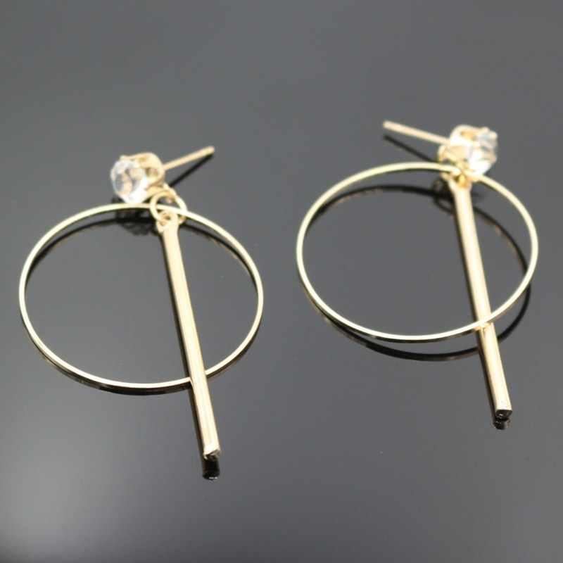 EK2072 Gold สี Minimalist วงกลมต่างหูหดต่างหูหญิงยาว Zircon Drop ต่างหูสำหรับของขวัญผู้หญิง