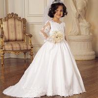 Without Veil First Communion Gowns Long Sleeves V Neck Ball Gown Court Train Bow Vestido De