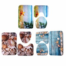 3 pcs Bath Mat Ocean Underwater World Anti Slip Bathroom Mat Set Coral Fleece Floor Bath Mats Washable Bathroom Toilet Rugs