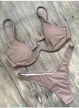 Women Bikini Set 2 pcs Padded Push-up Underwire Triangle Low Waist