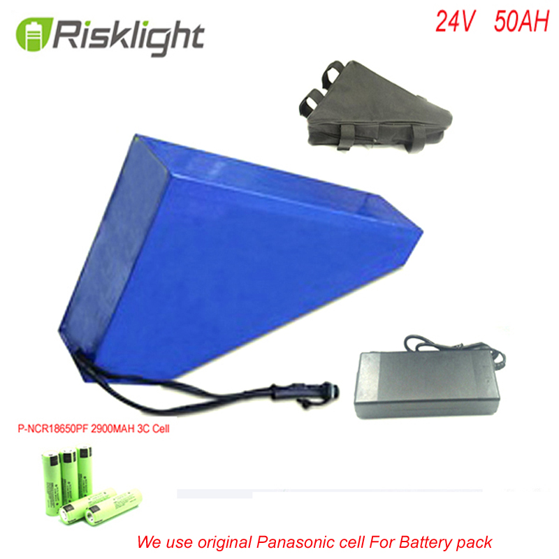 Triangle Battery 24V 50AH Electric Bike lithium battery pack 24V 700W Ebike battery for Panasonic NCR18650 cell and 5A Charger 48v 34ah triangle lithium battery 48v ebike battery 48v 1000w li ion battery pack for electric bicycle for lg 18650 cell