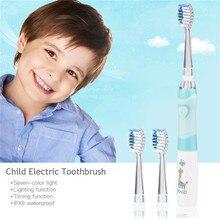 Seago crianças dos desenhos animados dente elétrico ultra sônico sonic escova de dentes led luz bebê teethbrush à prova ddental água escova dental bateria