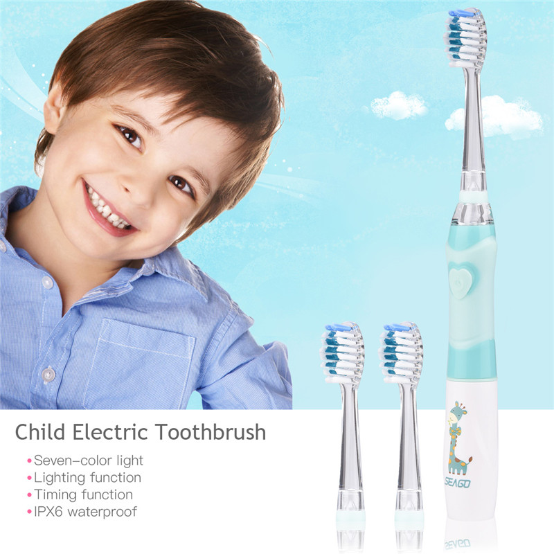 seago Children Cartoon Electric Tooth Ultrasonic Sonic Tooth Brush LED Light Baby Teethbrush Waterproof Dental Brush Battery image