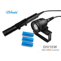 Brinyte DIV10W LED Canister Video Light CREE XML2 4500lm LED Scuba Diving Torch Flashlight 200M Underwater Lamp + 3 *battery