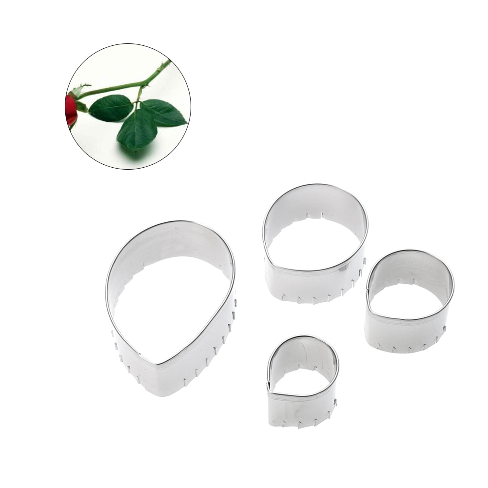 4pcs Metal Cookie Cutters Set Rose Flower Stainless Steel Tos