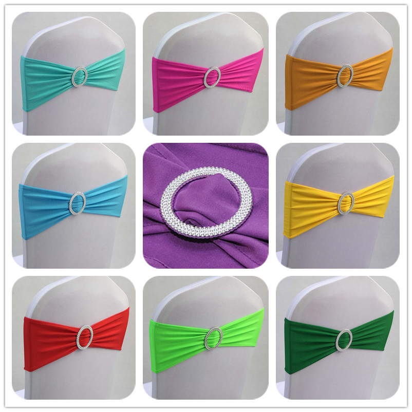 50pcs Spandex Lycra Wedding Chair Cover Sash Bands Elastic Stretch Banquet Chair Bow Ties With Round