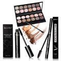 Cosmetic Set Eyeshadow Palette Long Curling Eyelashes Mascara Eyeliner Pencil