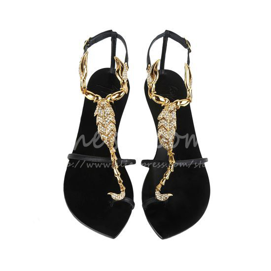 Brand Hot Luxury Crystals Gold Metal Scorpio Crystal Nappa Leather Sandals  Women Summer Ankle Strap Flat - Brand Hot Luxury Crystals Gold Metal Scorpio Crystal Nappa Leather