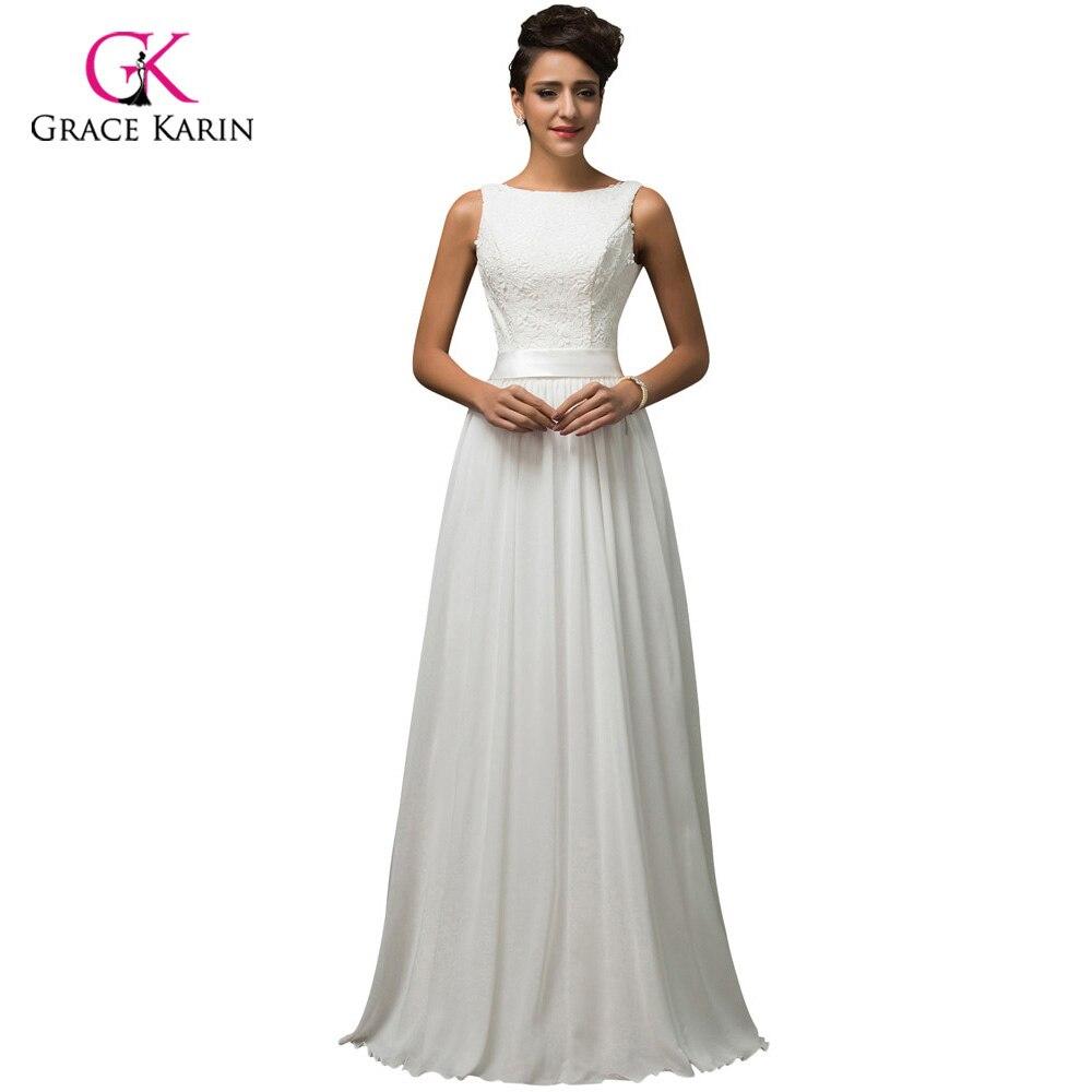 Grace Karin Chiffon Low Back Cheap Lace Beach White Wedding Dresses 2015 Long Bridal Wedding Gown