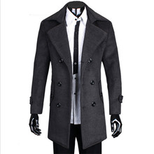2016 men's fall and winter explosion models thick woolen coat wool double-breasted long section of leisure