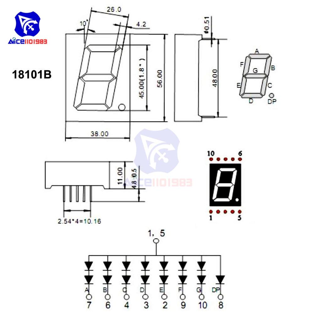 ❤️ 5PCS/Lot LED Module Common Cathode 10 Pin 1 Bit 7 Segment 2 2 x 1 5 x  0 43 Inch 1 8