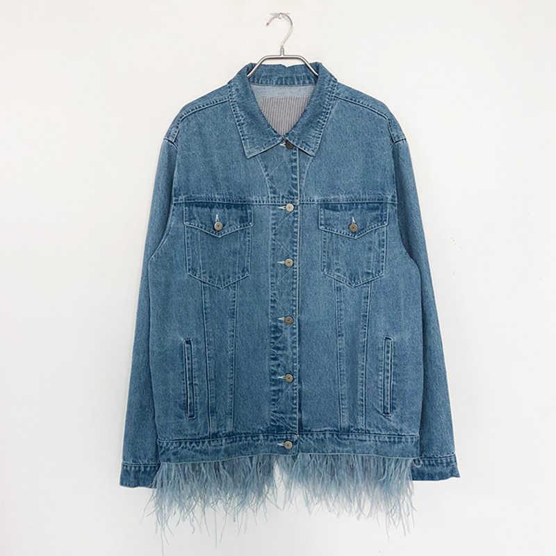 [EAM] Новинка 2019, осенне-зимняя джинсовая куртка с отворотом, длинным рукавом, с синими перьями, с разрезом, свободный, большой размер, Женское пальто, модное, JW832