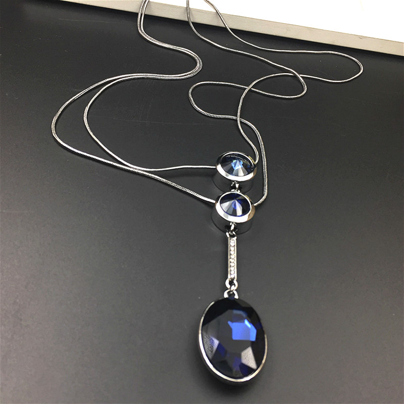 Elegante Doble Capa Azul de Cristal Collar Largo y Colgante Para Las Mujeres Bij