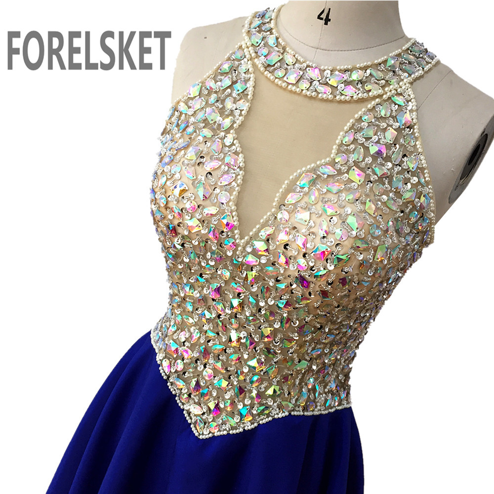 Sequined O Neck Chiffon Long Prom Dresses Blue 2020 Crystal Beading Illusion Formal Evening Party Gowns A Line Robe De Soiree