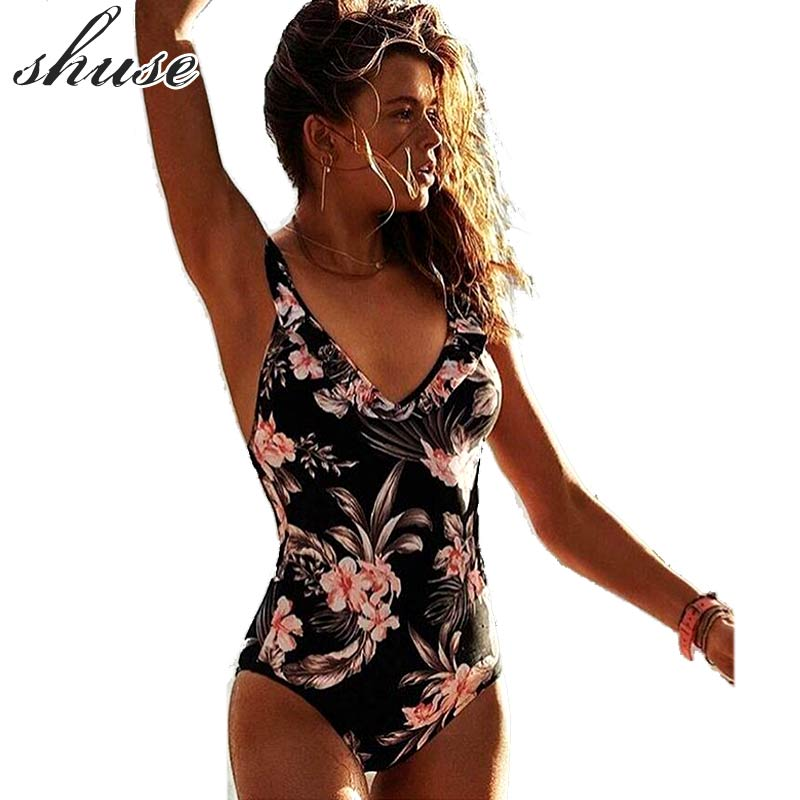 2018 Sexy One-Piece Swimsuit Women Push Up Bandage Monokini Print Floral Solid Backless Bodysuit Swimwear Maillot De Bain Bating 9colors bae watch bodysuit swimwear padded red monokini letters rompers womens jumpsuit costume sexy maillot de bain drop ship