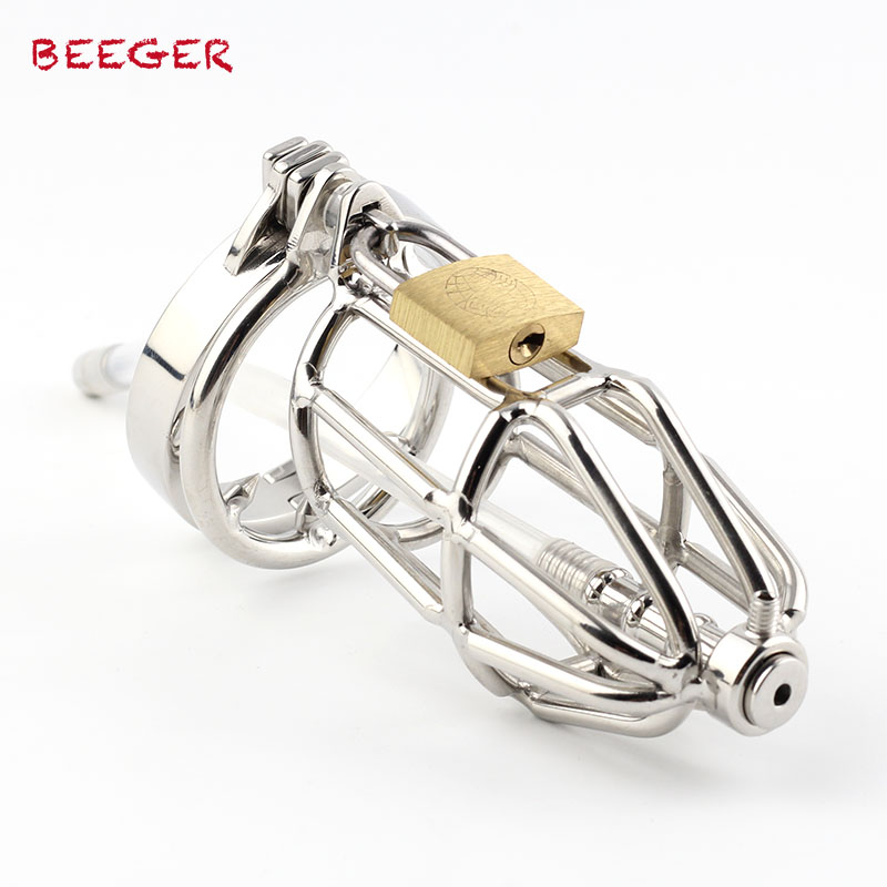 BEEGER Cock Ring Male Chastity Device Silicone Tube Sounding Urethral with Barbed Anti-Shedding Cockring Craft Chastity Cage цена