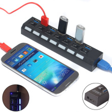 7 port USB 3 0 Charger with Individual On Off Switches For PC Computer Laptop Phone