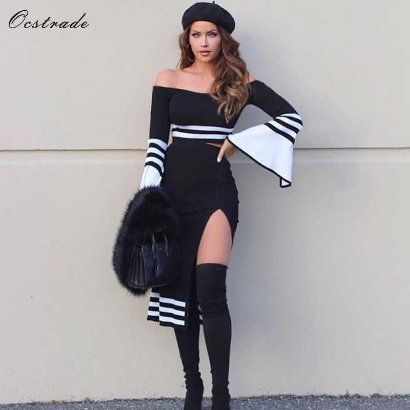 Ocstrade 2 חתיכה תחבושת שמלת 2019 קיץ חדש אופנה נשים שחור ולבן סקסי Bodycon שתי חתיכה תחבושת שמלה