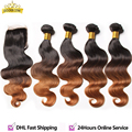 7a Grade Ombre Brazilian Hair with Closure Body wave with closure 4bundles brazilian hair weave bundles Human Hair with closure