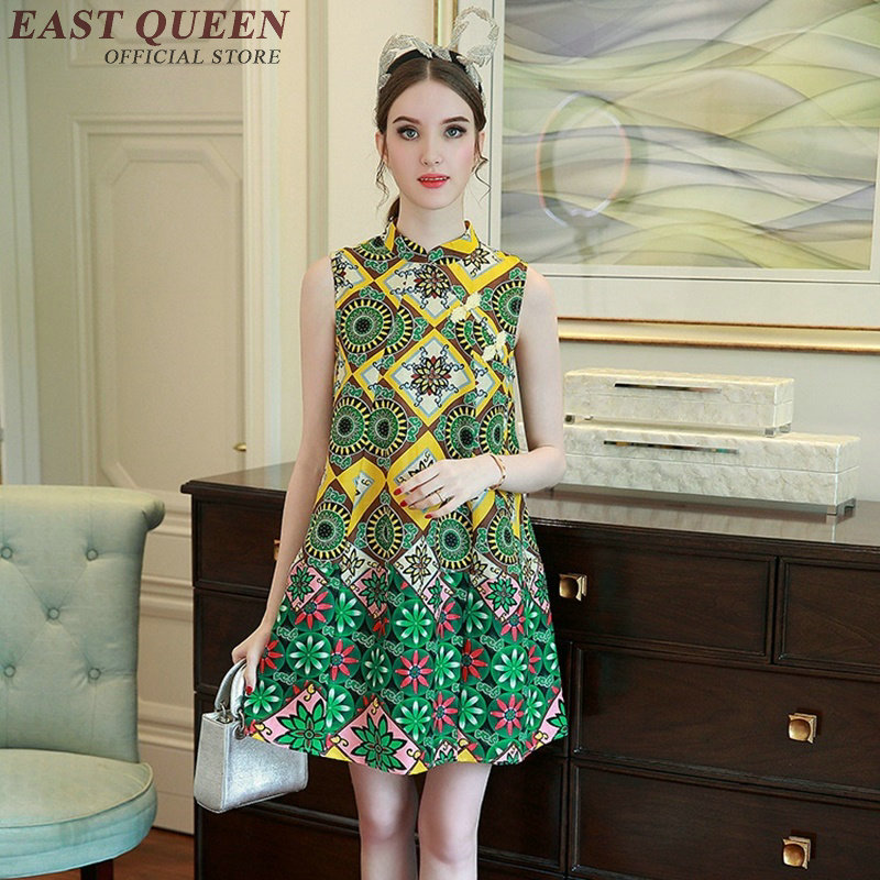 2017 new arrival oriental style dresses Chinese-style dress sleeveless Chinees dress A-line womens sundresses AA2404 YQ