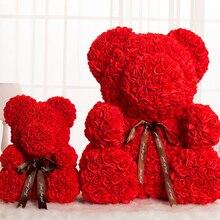 Искусственные цветы розы медведь подарок на день Святого Валентина девушка юбилей подарок на день рождения для свадебной вечеринки украшение Тедди игрушка