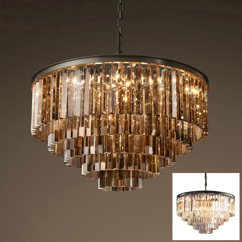 American retro glass tube pendant light lamp LED round circular foyer living sitting room crystal hanging