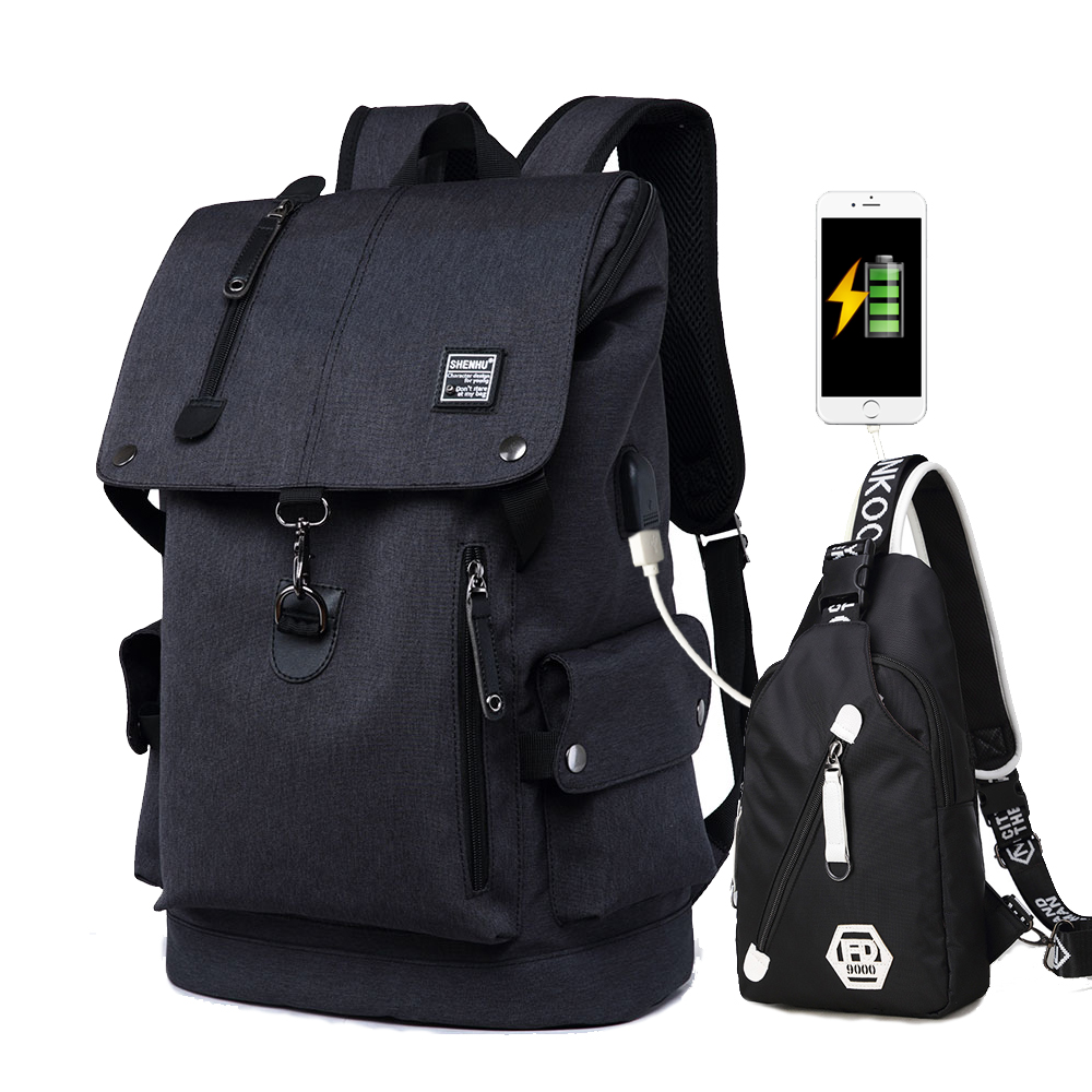 New Kids School Bags 2 Set Anti Theft Men Backpack Waterproof Travel Bag Backpack Male Mochila