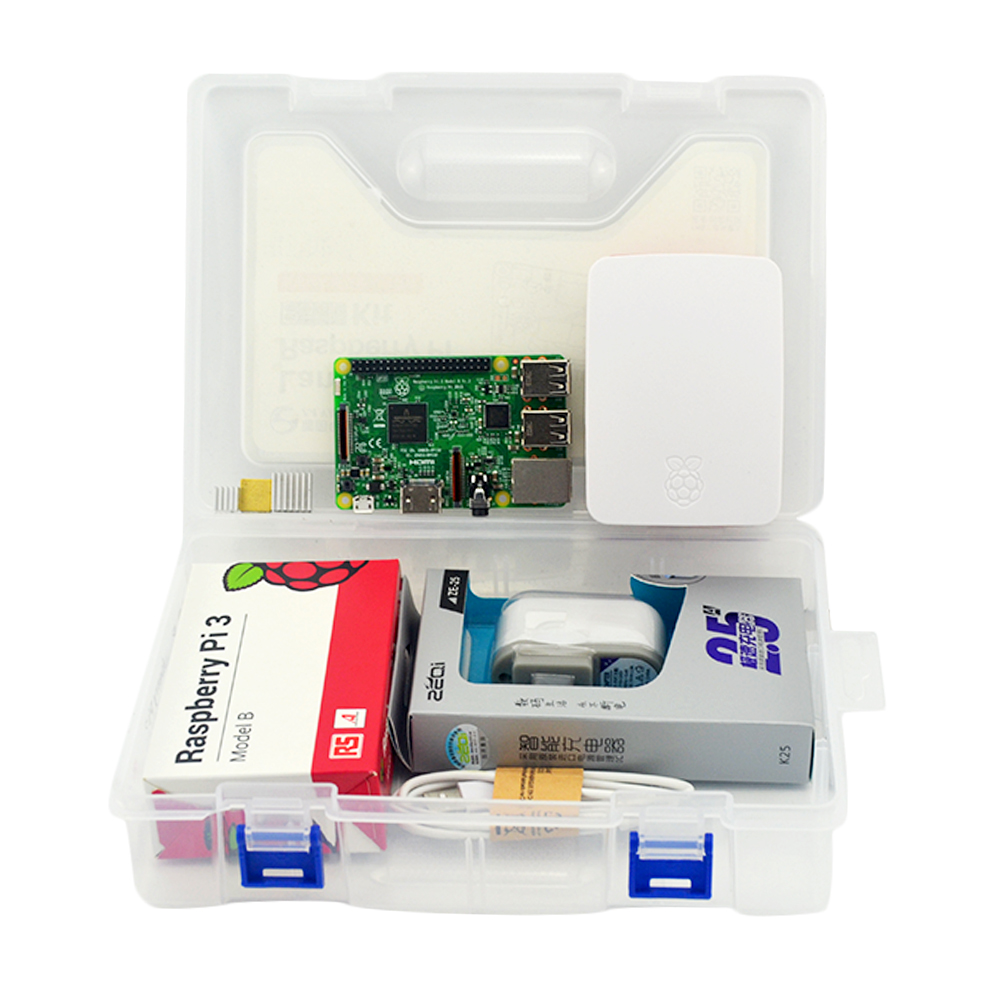 Raspberry Pi 3 Model B Starter Kit Pi 3 + Case + US Power Supply + USB Cable + 16G micro SD card + heat sink with Wifi Bluetooth acv pi 622
