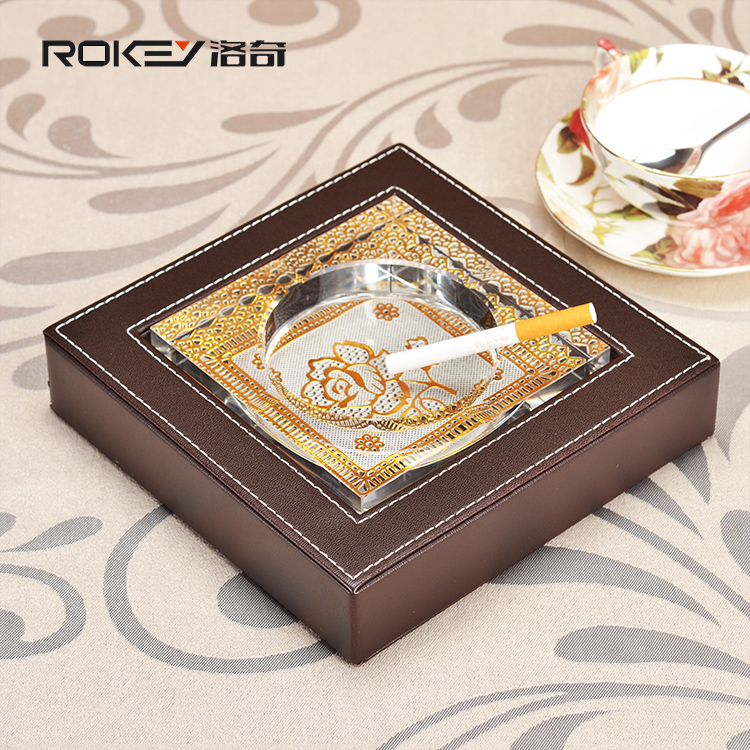 Rocky brown grain cowhide leather high grade crystal ashtray fashion creative personality ashtray Modern