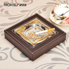 Rocky brown grain cowhide leather high-grade crystal ashtray fashion creative personality ashtray Modern
