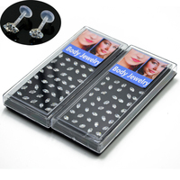 40pcs Box Bioplast Flexible PTFE Labret Ear Tragus Cartilage Earring Lip Ring Piercing With Zircon Body