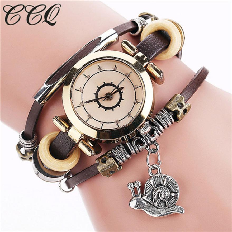 CCQ Relogio Feminino 2018 Vintage Leather Bracelet Watch Women Wristwatch Quartz-watch bayan kol saati horloges vrouwen *1205