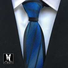 Lingyao Factory NEW Designers Tie Royal Blue with Diagonal Stripes Fashion Necktie