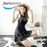 Jersqons Black Sexy Lace Women Push Up One Piece Swimsuit 2018 Dress Cross Modest Beachwear Ladies Solid Slim Skirt Bathing Suit