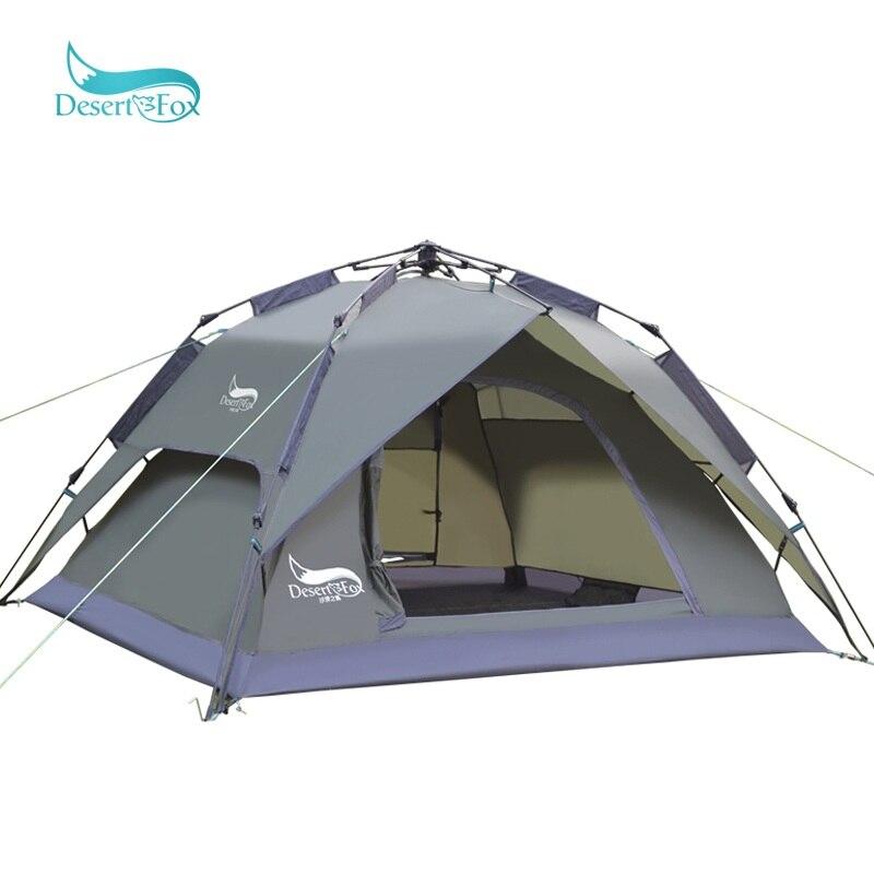 Désert et Renard Automatique 3-4 Personne Camping Tente Grand Espace Double Fonction Étanche Abri Du Soleil Sac À Main Voyage Tente